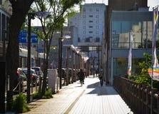在街市的街道在秋田,日本 免版税库存图片
