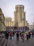 在街市的街道在莫斯科,俄罗斯 免版税库存图片