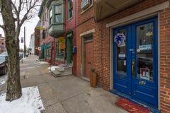 在街市约克, Pennsylva存放前面和公寓 免版税图库摄影