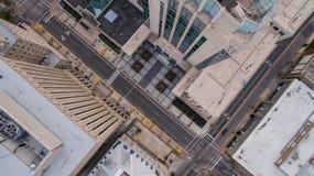 在街市罗利NC的摩天大楼屋顶 图库摄影