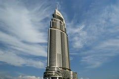 在街市Burj迪拜,迪拜,阿联酋的现代旅馆地址 免版税库存图片
