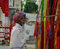在街道上的人们在普斯赫卡尔,印度 图库摄影