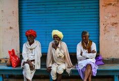 在街道上的人们在普斯赫卡尔,印度 库存图片