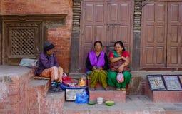 在街道上的供营商在加德满都,尼泊尔 库存图片