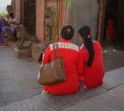 在街道上的供营商在加德满都,尼泊尔 免版税库存图片