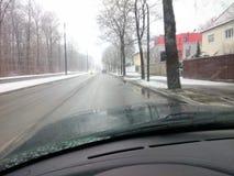 在街道上的冬天 免版税图库摄影
