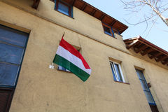 在街道上的匈牙利旗子在布达佩斯 库存图片