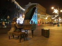 在街道上的圣诞节音乐 免版税库存照片
