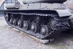 在街道上的坦克 一个博物馆在波兰 标记波兰 免版税图库摄影