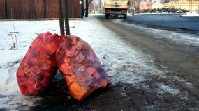 在街道上的垃圾袋 免版税库存照片