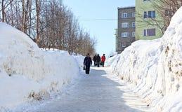 在街道上的大随风飘飞的雪 库存图片