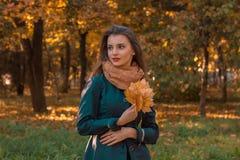 在街道上的女孩立场在树附近看起来去并且保持叶子手中 库存照片