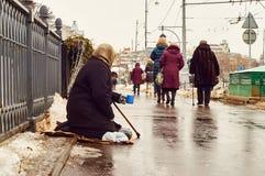 在街道上的女性叫化子 库存照片