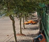 在街道上的无家可归者 免版税库存图片