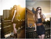 在街道上的时装模特儿有太阳镜的和短小黑色穿戴。有摆在街道上的长的腿的时兴的女孩。高档时尚 库存图片