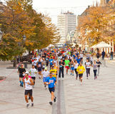 在街道上的未认出的赛跑者在诺维萨德,塞尔维亚 免版税库存照片