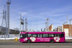 在街道上的桃红色公共汽车 免版税库存照片