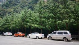 在街道上的汽车在张家界在湖南,中国停放 图库摄影