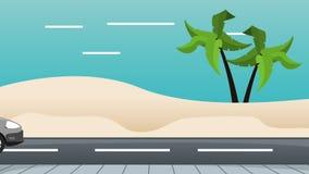 在街道上的汽车有在顶面HD定义的海浪桌的 库存例证