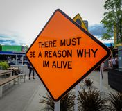 在街道上的牌在克赖斯特切奇, NZ 库存照片