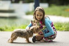 在街道上的甜女孩有一条小狗的 库存图片