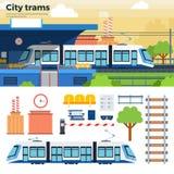 在街道上的电车在城市 库存图片
