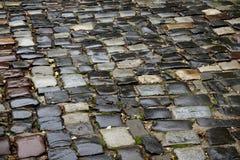 在街道上的石头块 老市利沃夫州,乌克兰 发票 免版税图库摄影