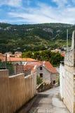 在街道上的石路面在用在海岛上的森林盖的山的传统村庄在地中海 免版税库存图片