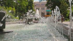 在街道上的美丽的喷泉 影视素材