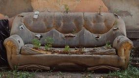 在街道上的老皮革被放弃的沙发在被毁坏的房子的门面,植物通过室内装饰品发芽了 库存图片