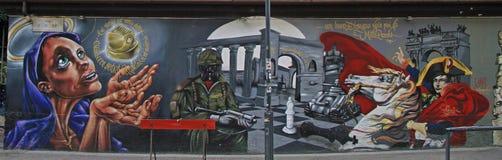 在街道上的街道画在米兰 免版税库存图片