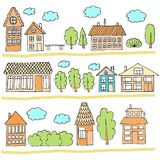在街道上的议院 一个城市风景的例证与连栋房屋的 乱画样式 库存图片