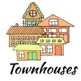在街道上的议院 一个城市风景的例证与连栋房屋的 乱画样式 免版税图库摄影