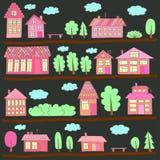 在街道上的议院 城市风景的例证 免版税库存图片