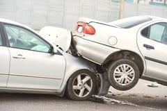 在街道上的车祸事故 库存照片