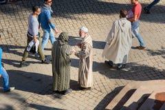 在街道上的顶面wiew在麦地那 马拉喀什 摩洛哥 图库摄影