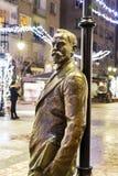 在街道上的Aleko Konstantinov雕象在索非亚 图库摄影