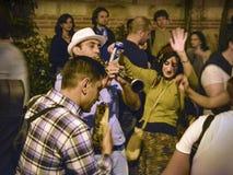 在街道上的Hidrellez新春佳节跳舞 库存照片