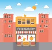 在街道例证的食物市场 免版税库存照片