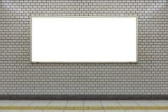 在街道墙壁上的大空白的广告牌,与室的横幅增加 图库摄影