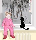 在街道天气非常冷的,孩子在家坐 免版税库存图片