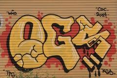 在街道画狂放的样式的五颜六色的题字街道 图库摄影