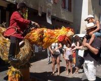 在街道的奇怪的大公鸡。 免版税图库摄影