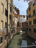 在街道的洗衣店在威尼斯 库存图片
