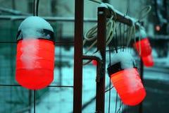 在街道的红色灯 免版税库存照片