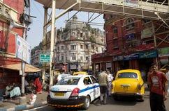 在街道的都市场面,加尔各答,印度 图库摄影