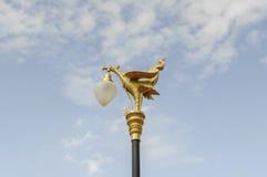 在街道的金黄天鹅灯 免版税库存照片