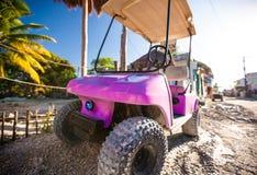 在街道的滑稽的桃红色高尔夫球汽车在热带 免版税库存照片