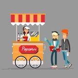 在街道食物自动贩卖机的详细的创造性的传染媒介例证 向量例证