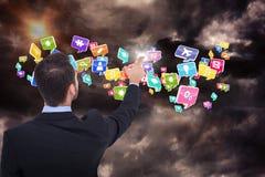 在衣服的指向这些手指3d的商人的综合图象 库存图片